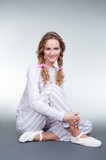 pretty girl in pajamas and slippers poster