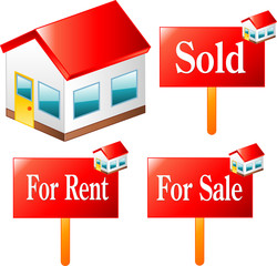 House, Sold, rent, sale icons