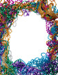 Border made of mardi gras bead and mask on white