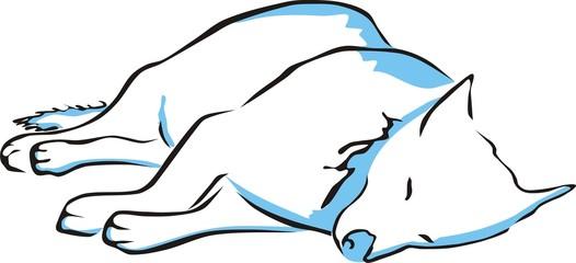 Perro durmiendo en el suelo - dibujo