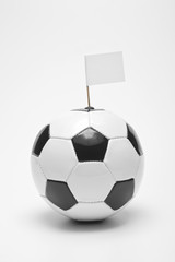 soccer ball (black & white) with blank flag, sports