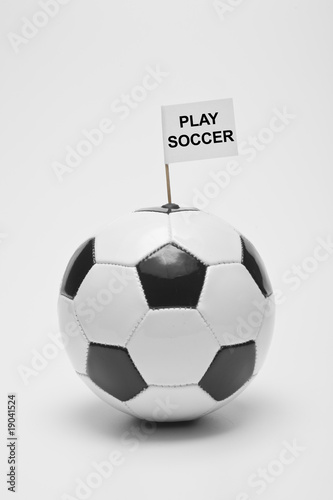 soccer ball (black & white) with flag, sports