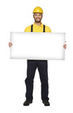handyman hold white board