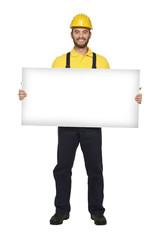 handyman hold white board