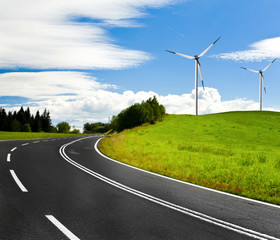Country highway and wind turbines