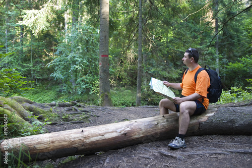 tourist reading a map