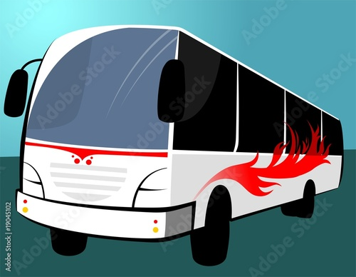 Illustration of a white transport bus