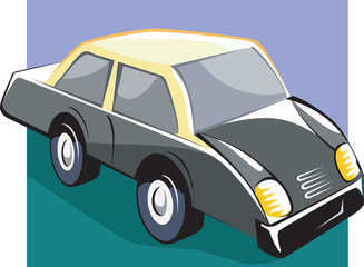 Illustration of a car with yellow top