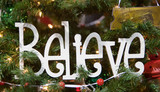 Believe Christmas Tree Ornament poster