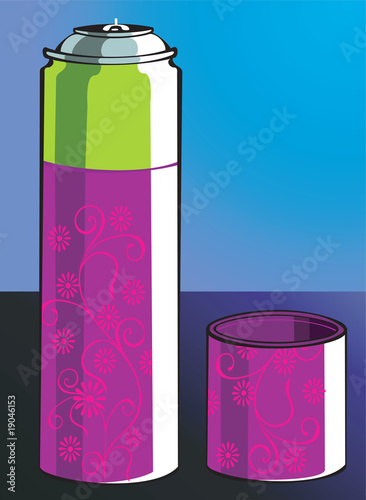 Illustration of floral printed perfume can