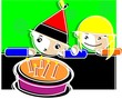 Illustration of a boy and girl standing near a birthday cake
