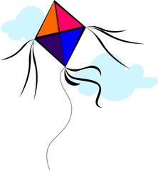 Illustration of kite with colour