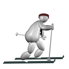 3D Puppet doing cross country skiing