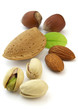 Almonds and hazelnuts with pistachio