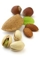 Almonds and hazelnuts with pistachio