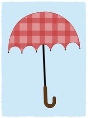Patchwork tartan Red Umbrella on light blue background