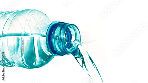 Water pouring out of a plastic bottle (aqua hue)