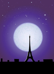 Eiffel Tower in the moonlight