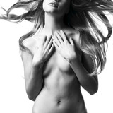 Beautiful nude woman with magnificent hair poster