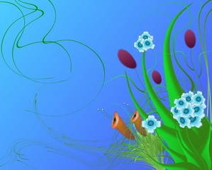 abstract background with flowers and swirls