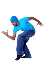 cool modern dancer in action isolated on white