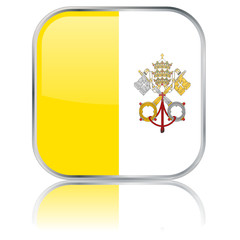 Vatican City Square Flag Button (Shiny - Vector - Reflection)