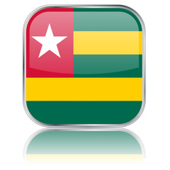 Togo Square Flag Button (Togolese Togolais - Vector Reflection)