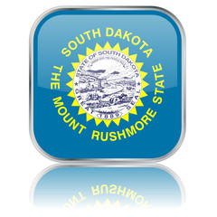 South Dakota State Square Flag Button (USA - Vector Reflection)