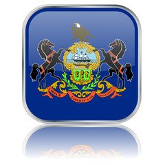 Pennsylvania State Square Flag Button (USA - Vector Reflection)
