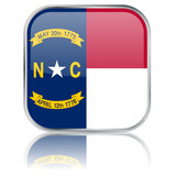 North Carolina State Square Flag Button (USA Vector Reflection)