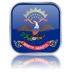 North Dakota State Square Flag Button (USA - Vector Reflection)