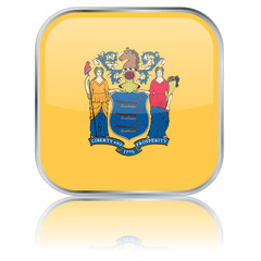 New Jersey State Square Flag Button (USA - Vector - Reflection)