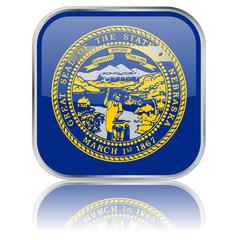 Nebraska State Square Flag Button (USA - Vector - Reflection)