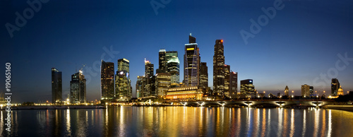 Aluminium Singapore Singapore City Evening Skyline