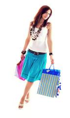 Cheerful shopping girl
