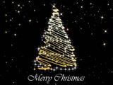 black twinkle star background with decor xmas tree poster