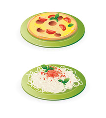 italian meals - pasta and pizza - vector