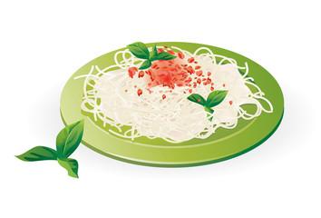 Italian Spaghetti on the plate - Vector