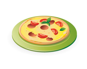 pizza on the green plate