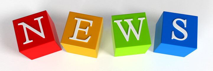 """NEWS"" phrase compiled with a cubes - 3d rendering"