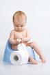 Little girl on potty with lavatory paper.