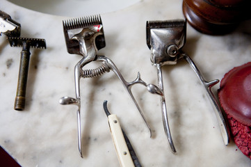 Old tools for hairdresser