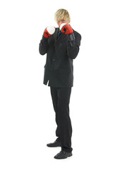 Businessman with boxing glove.