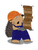hedgehog builder with bricks