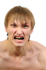 Portrait of angry stressed man isolated on white background