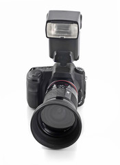 Professional DSLR camera with telephoto lens and flash