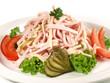 Leinwanddruck Bild - Wurstsalat mit Käse