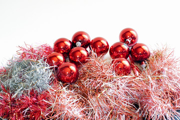 Isolated red Christmas balls and tinsel