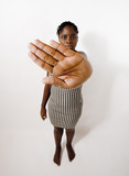 black woman showing hand meaning stop poster