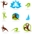 collection of yoga people, vector icons